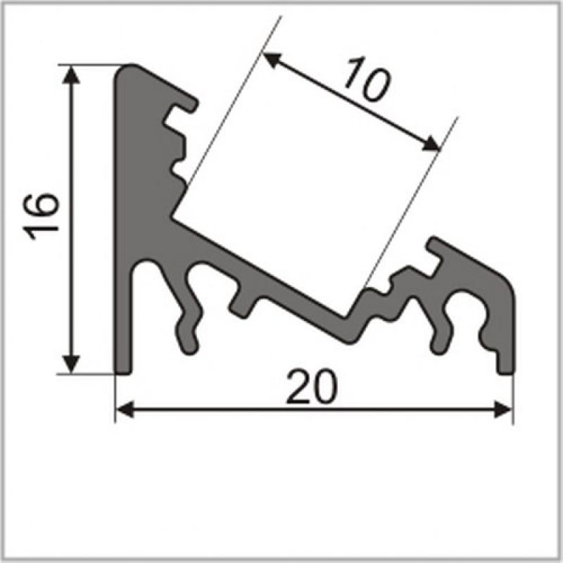 2 meter led aluprofil corner 30 grad schwarz eloxiert ohne. Black Bedroom Furniture Sets. Home Design Ideas
