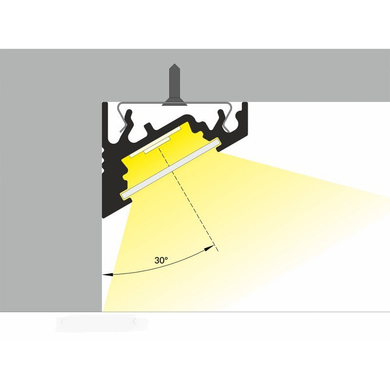 2 meter led aluprofil corner 30 grad weiss lackeriert ohne abdeckung. Black Bedroom Furniture Sets. Home Design Ideas