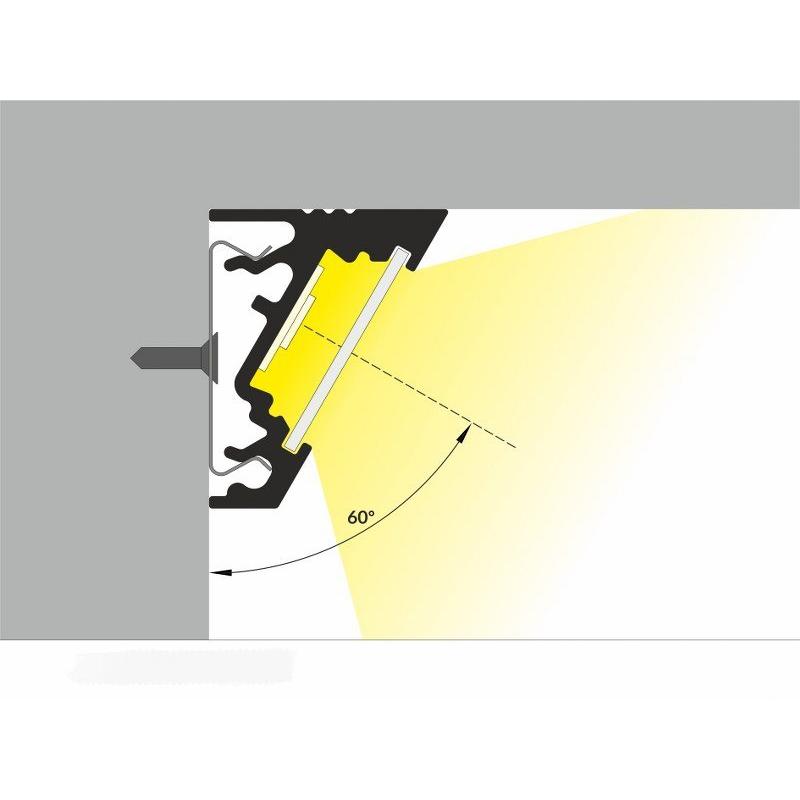 2 meter led aluprofil corner 30 grad weiss lackeriert ohne. Black Bedroom Furniture Sets. Home Design Ideas
