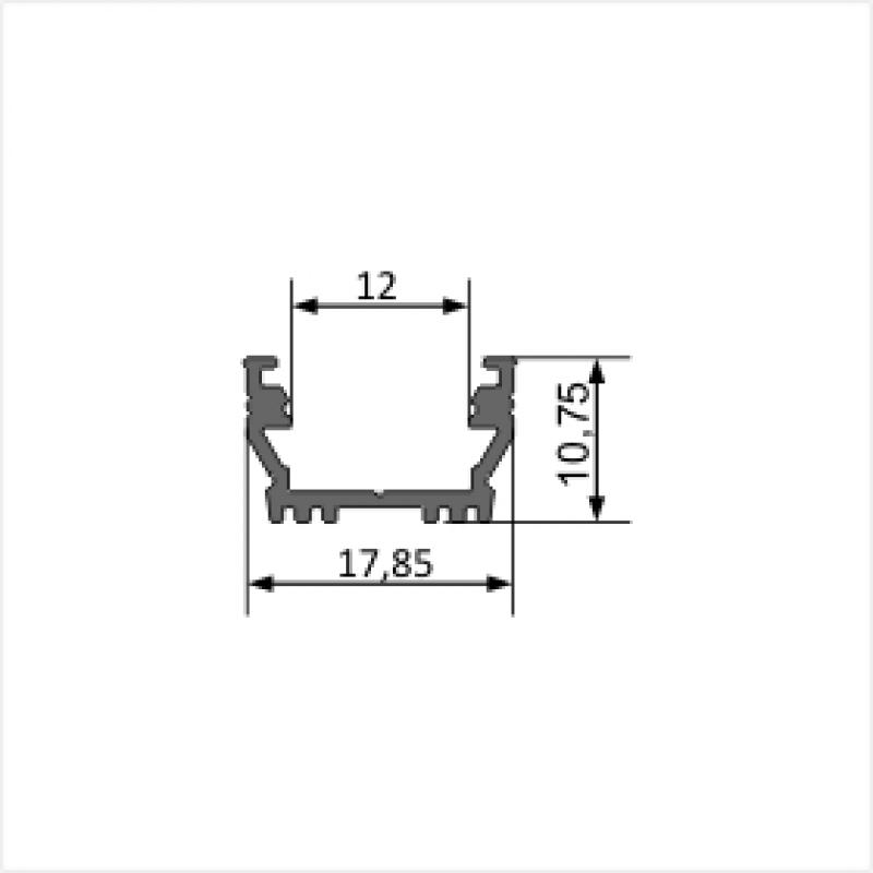 2 meter led aluprofil einputz flach natureloxiert ohne abdeckung 10. Black Bedroom Furniture Sets. Home Design Ideas