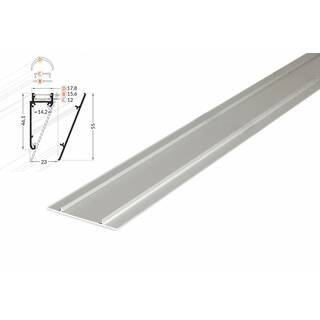 2 Meter LED Profil Wall 10mm -Frontblende natureloxiert silber Serie M